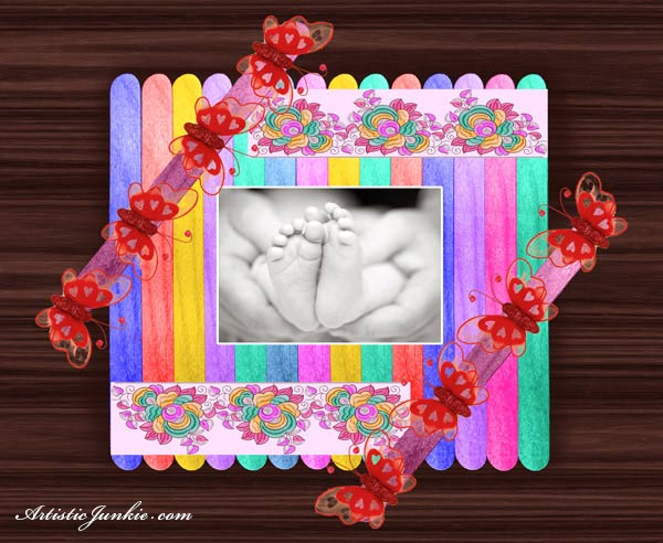 Image of Popsicle Stick Picture Frame Design