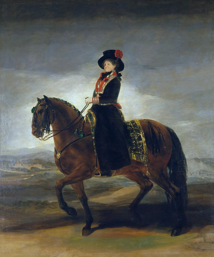 Queen María Luisa on horseback Painting of Goya