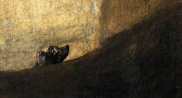 The Dog Dark Painting by Goya