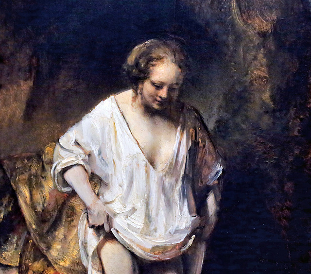 A Woman Bathing in a Stream Rembrandt Women Painting
