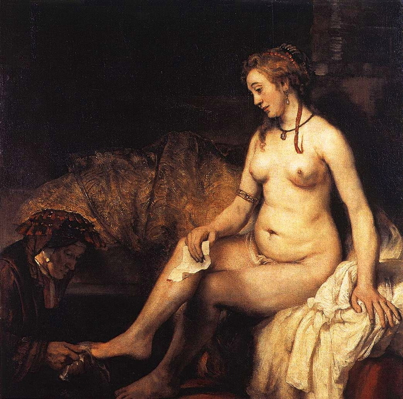 Bathsheba at Her Bath Rembrandt Painting