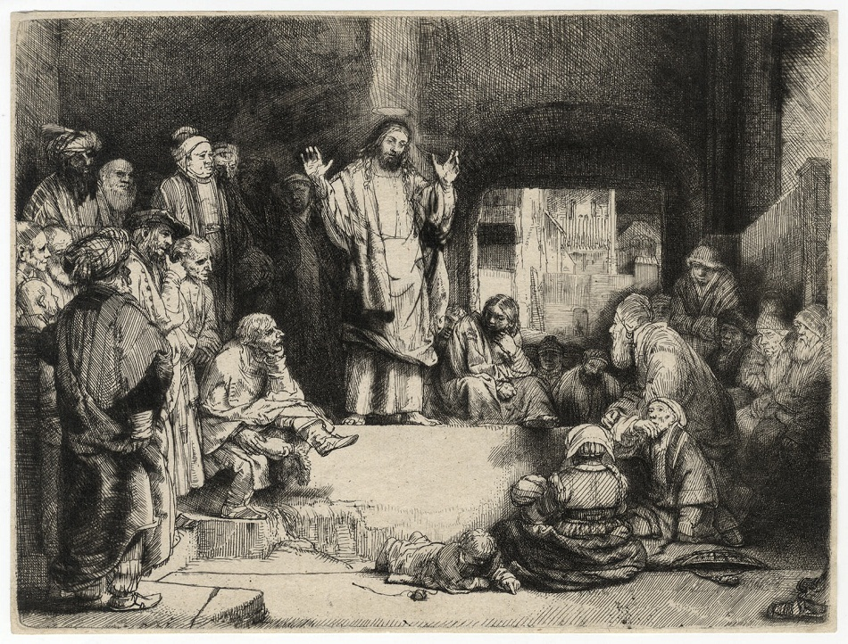 Christ Preaching Rembrandt Artwork