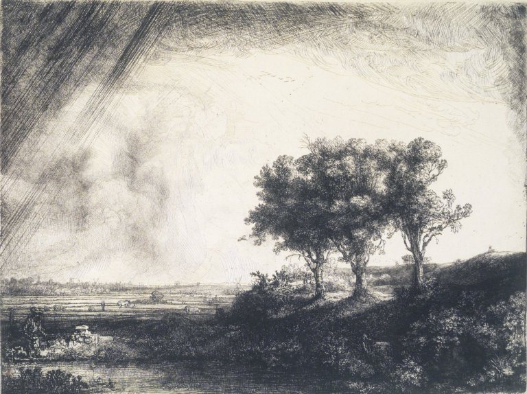 Rembrandt Etching Three Trees