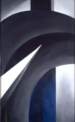 Black White and Blue Painting by Keeffe