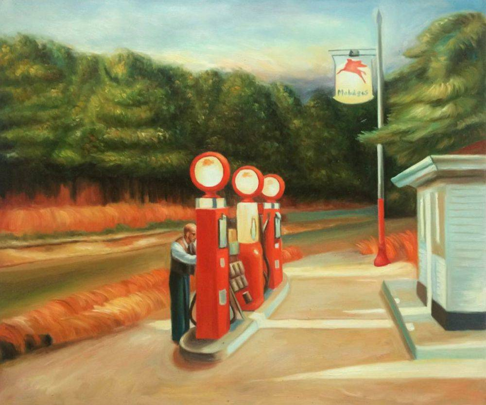 Gas Painting by Edward Hopper